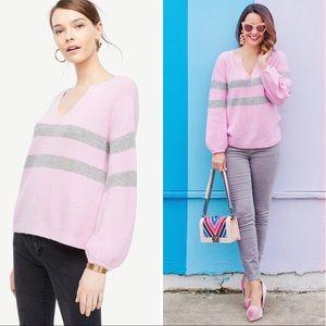Ann Taylor Pink Striped Balloon Sleeve Sweater